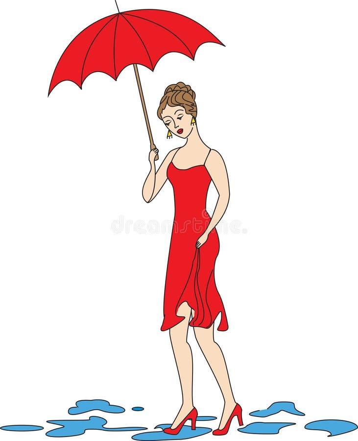Menina bonita em um vestido vermelho A menina anda na chuva Uma mulher é coberta por um guarda-chuva Ilustra??o do vetor ilustração stock