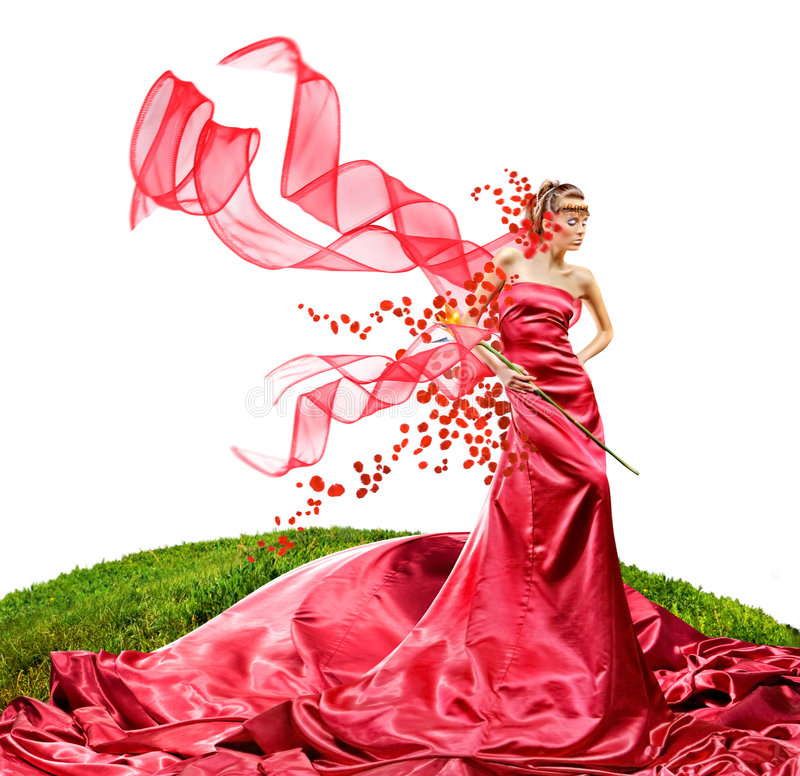Menina bonita em um vestido vermelho longo foto de stock royalty free