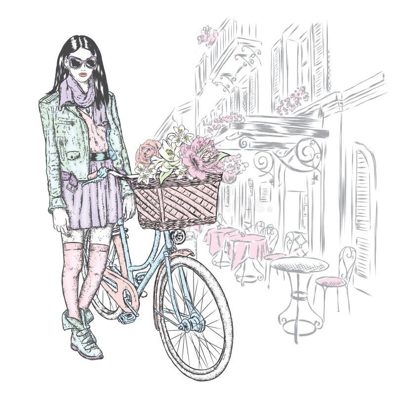 A menina bonita em uma saia, o revestimento e os vidros com um vintage bicycle em uma rua da cidade Ilustração do vetor Forma & e ilustração royalty free