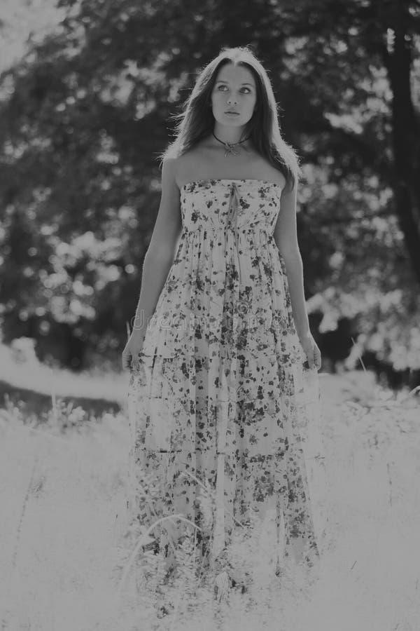 Menina bonita entre campos de flor imagem de stock