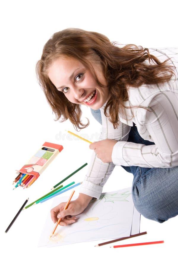 A menina bonita está desenhando com pastéis. #3 fotografia de stock