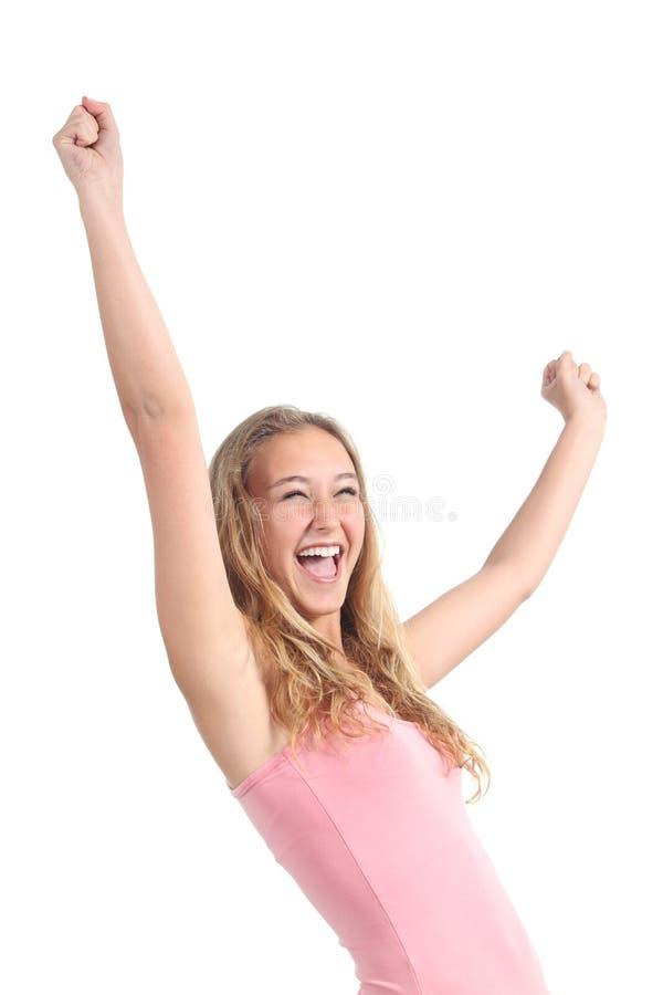 Menina bonita feliz do adolescente com seus braços aumentados imagem de stock royalty free