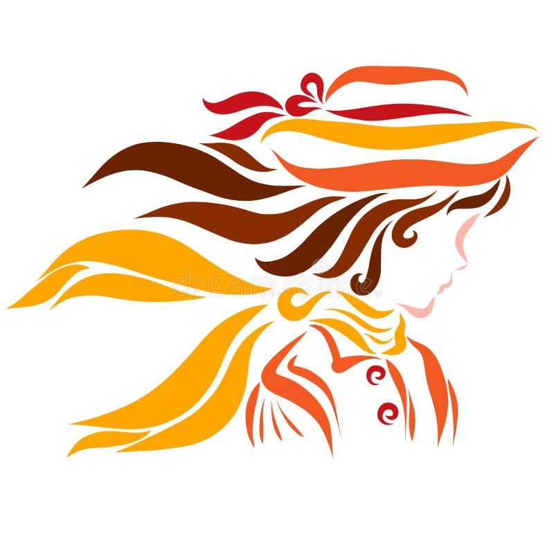 Menina bonita, forma e outono ilustração royalty free