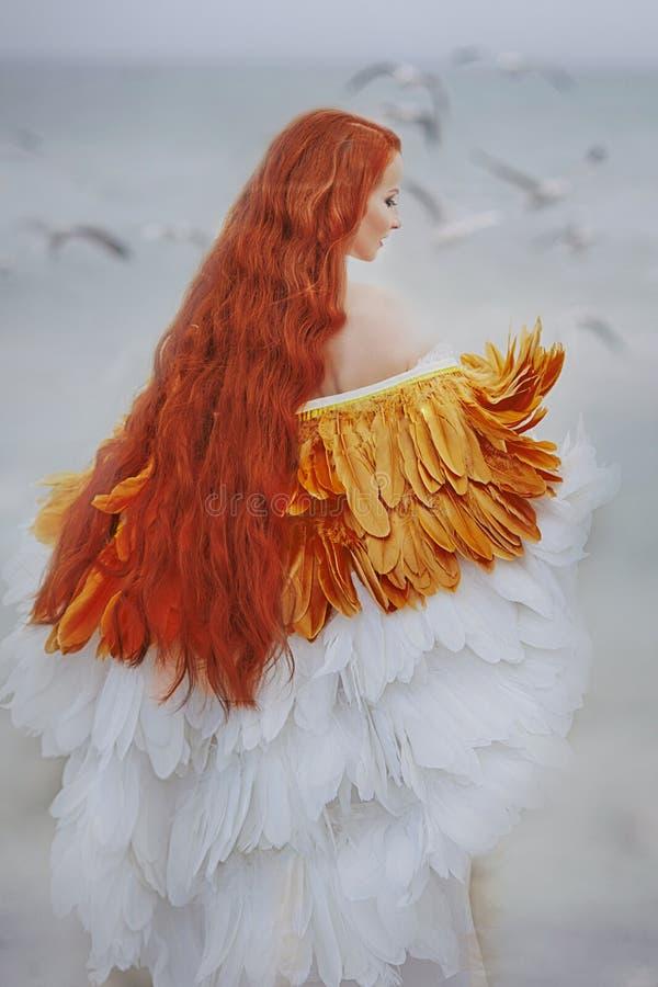 A menina bonita gosta de uma cisne na praia fotos de stock royalty free
