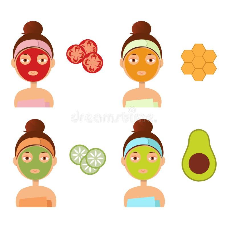 A menina bonita impõe uma máscara da argila ou do creme na cara ilustração do vetor