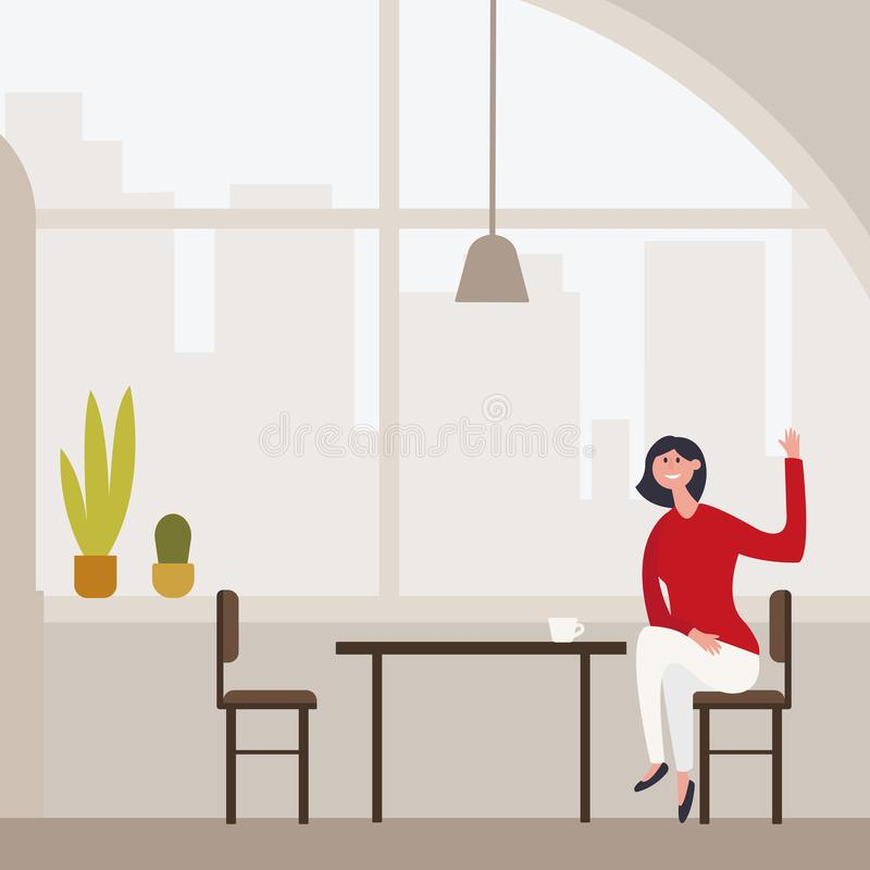A menina bonita magro nova senta-se em um tamborete de barra alta em um café com vistas panorâmicas impressionantes de Barcelona  ilustração do vetor