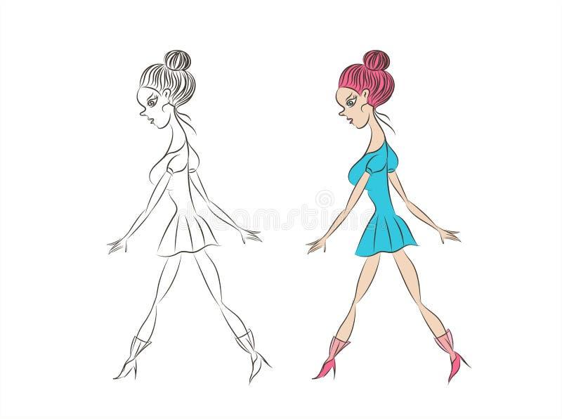 Menina bonita ? moda no vestido azul Mulher da forma esbo?o Ilustra??o do vetor Passeio das mulheres menina tirada m?o do youn ilustração stock