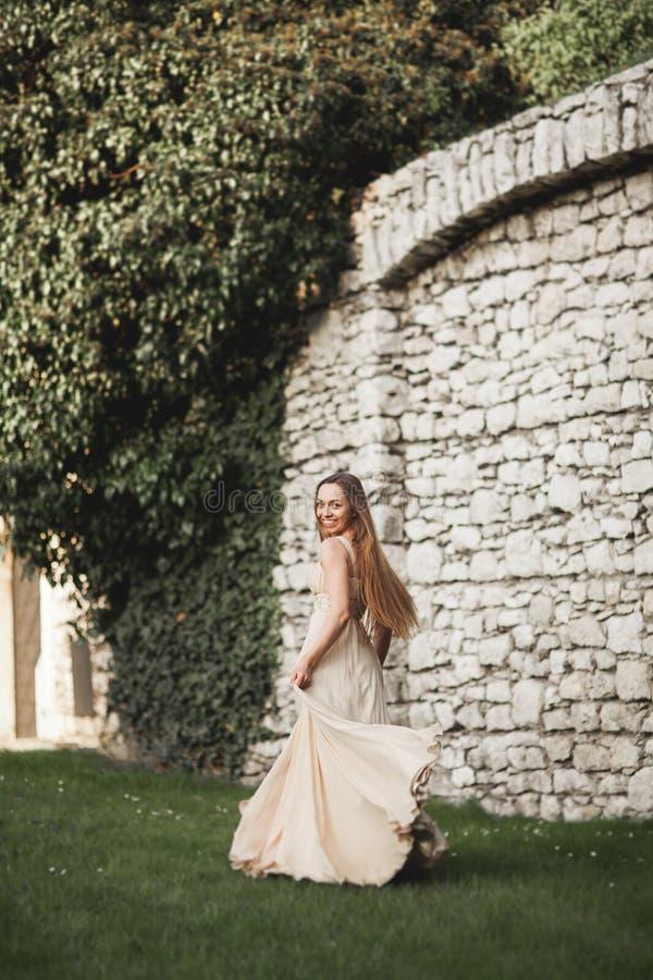 Menina bonita, modelo com o cabelo longo que levanta no parque perto do Grande Muralha Krakow Vavel imagens de stock