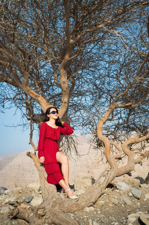 Menina bonita na árvore vermelha do deserto do fole do vestido fotografia de stock royalty free