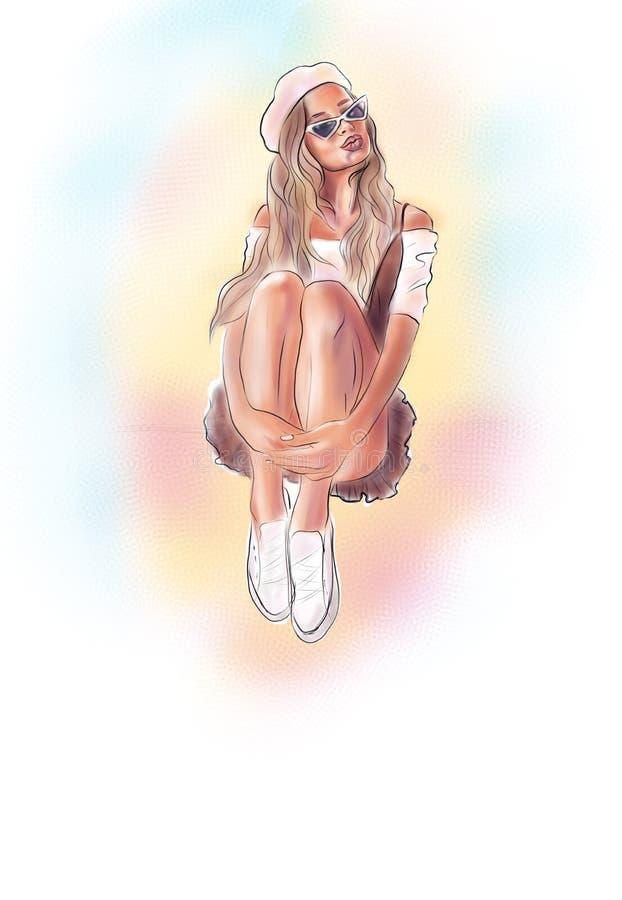 Menina bonita na boina ilustração royalty free