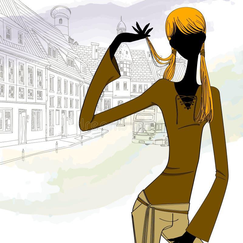 Menina bonita na cidade ilustração royalty free