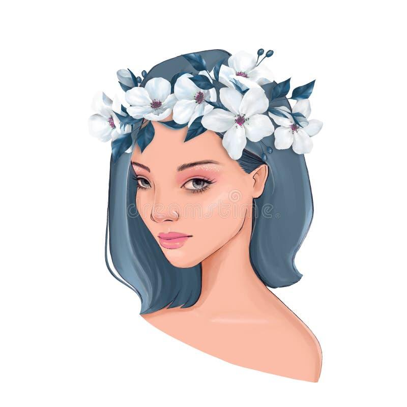 Menina bonita na grinalda branca ilustração stock