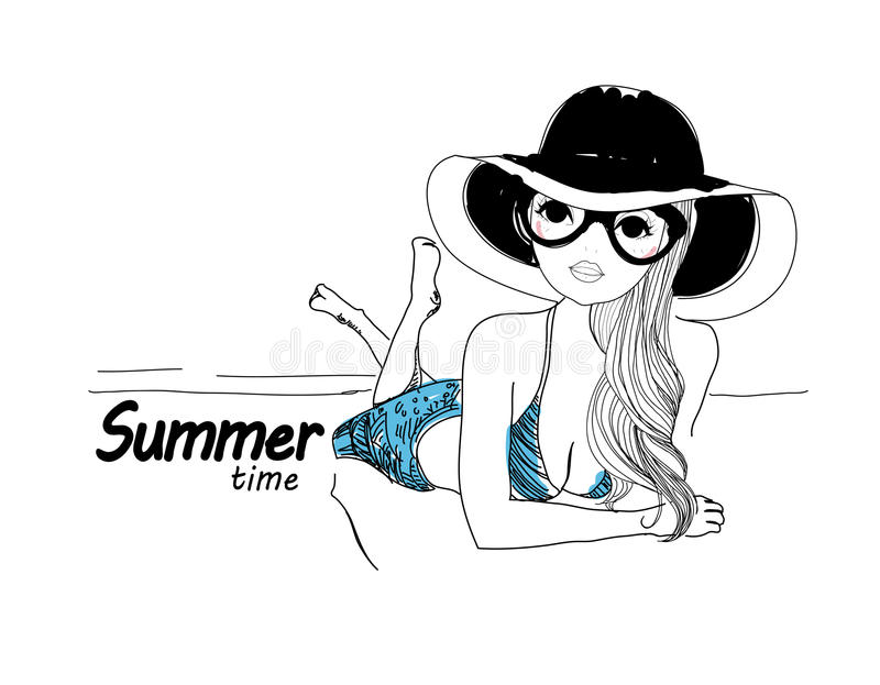 Menina bonita na praia ilustração royalty free
