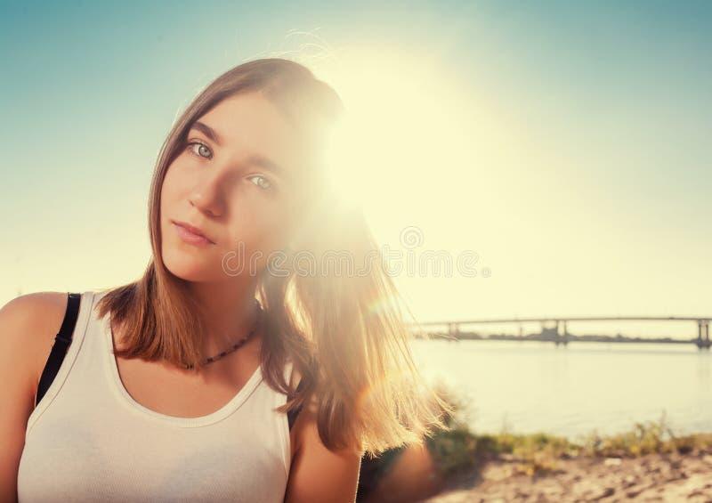 Menina bonita na praia apenas foto de stock royalty free