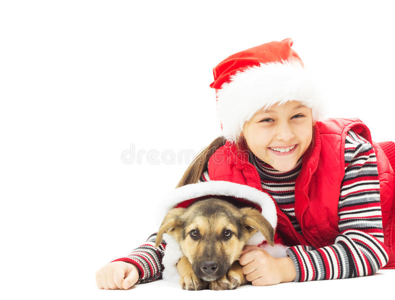 Menina bonita na roupa do Natal fotos de stock