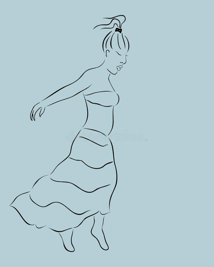 Menina bonita na saia, esboço ilustração royalty free