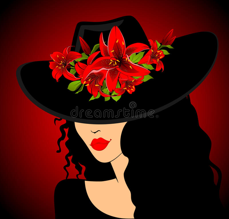 Menina bonita no chapéu ilustração royalty free