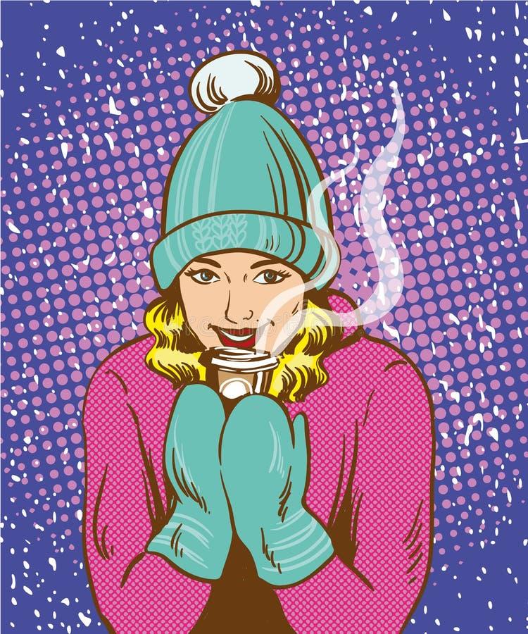 Menina bonita no chapéu morno e luvas que guardam a bebida quente Estilo cômico retro do pop art do conceito do warmup do inverno ilustração do vetor