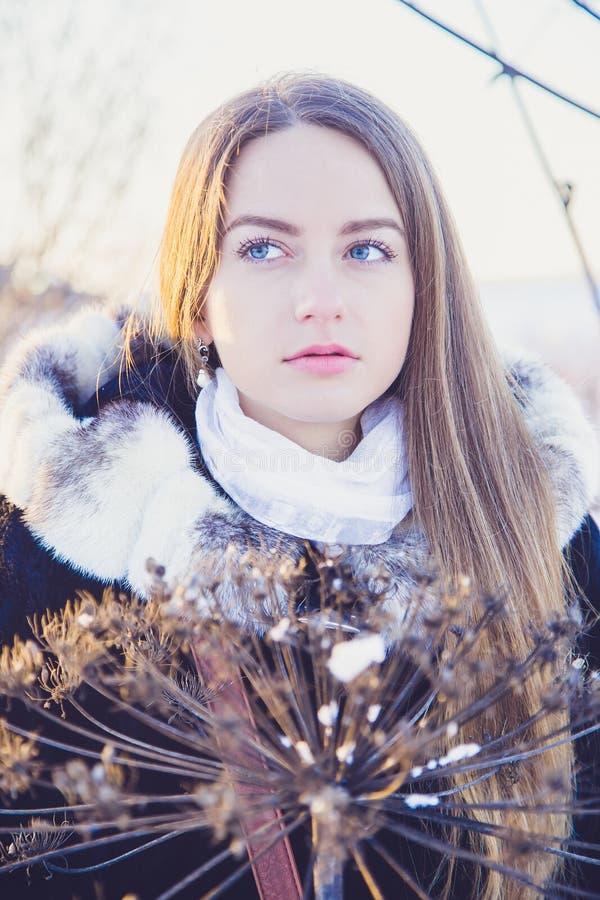 Menina bonita no inverno imagem de stock