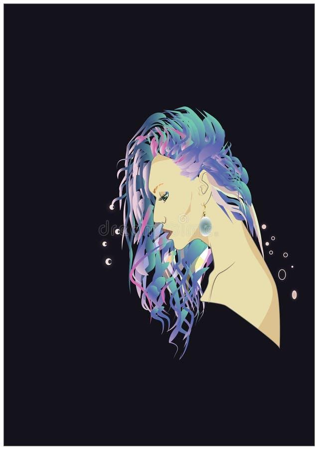 menina bonita no perfil com cabelo brilhante ilustração do vetor