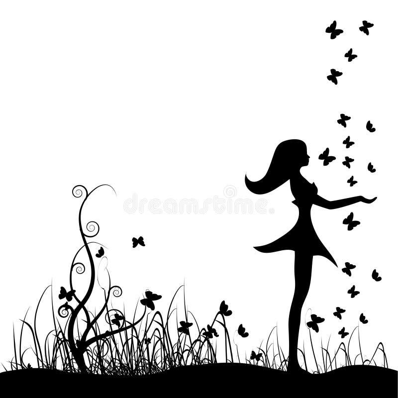 Menina bonita no prado, borboletas ilustração do vetor