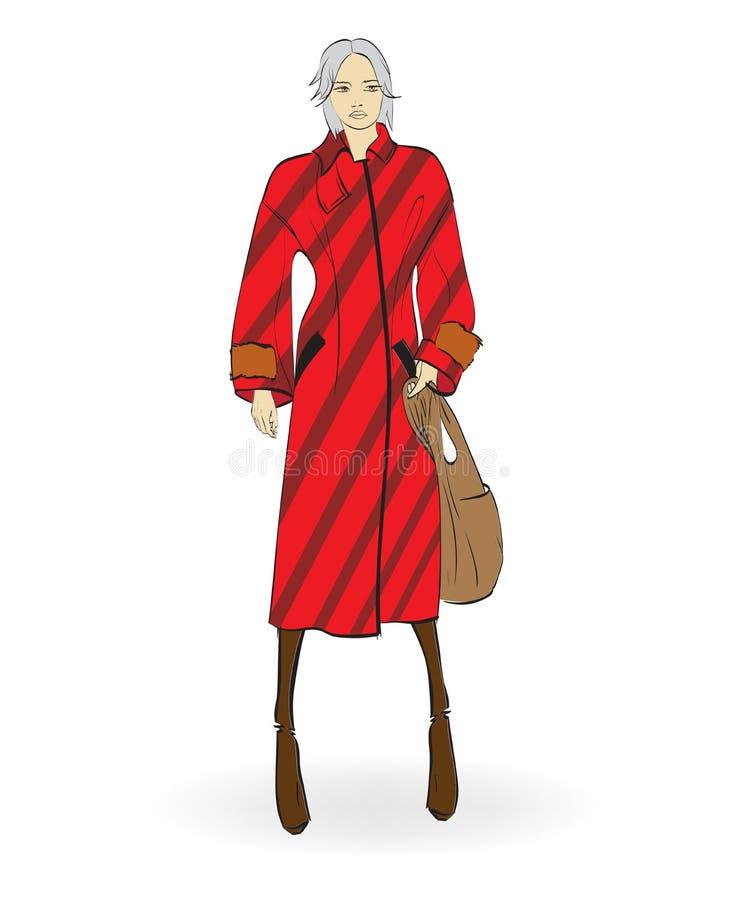 Menina bonita no revestimento vermelho, no fundo branco ilustração do vetor