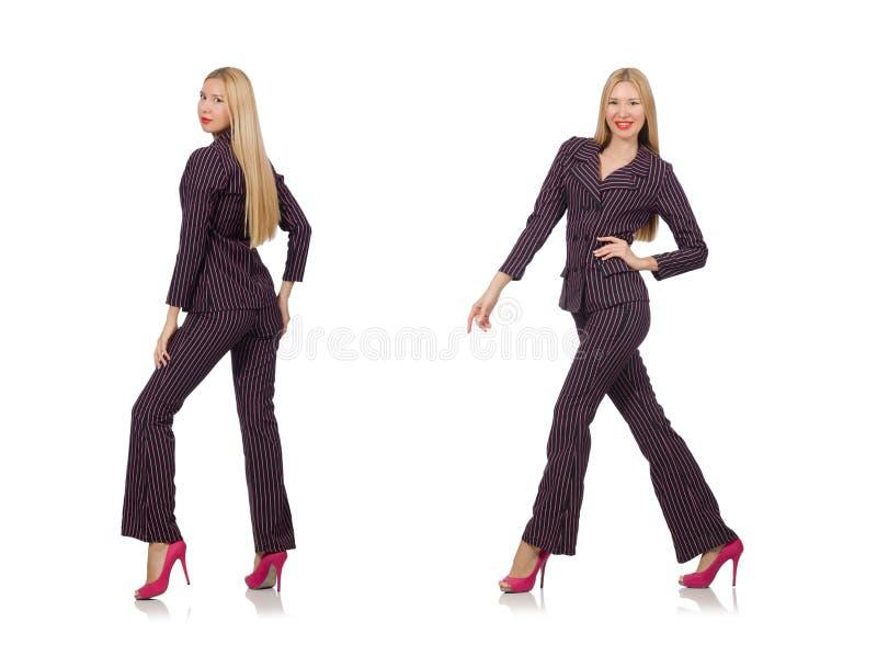 A menina bonita no terno retro roxo isolado no branco fotografia de stock royalty free