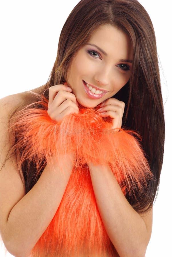 Menina bonita no traje alaranjado imagens de stock royalty free