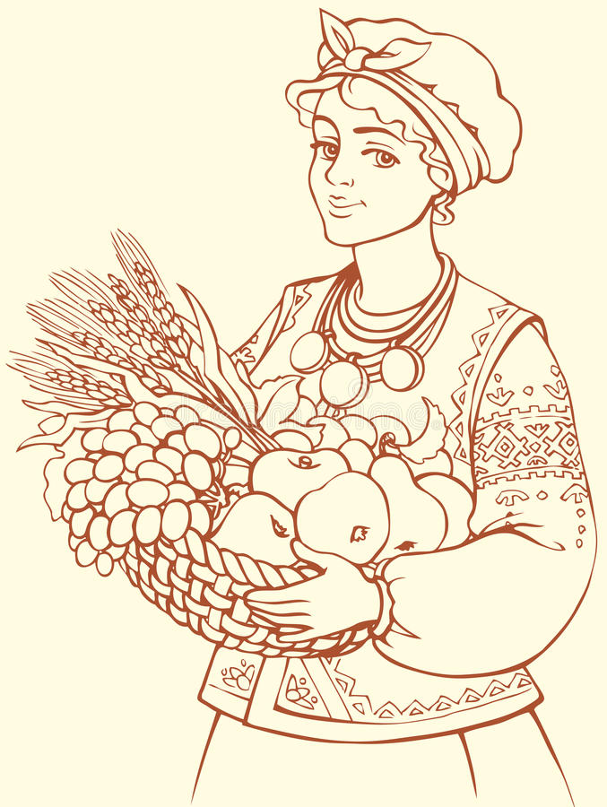 A menina bonita no traje ucraniano com a cesta do outono frutifica ilustração stock