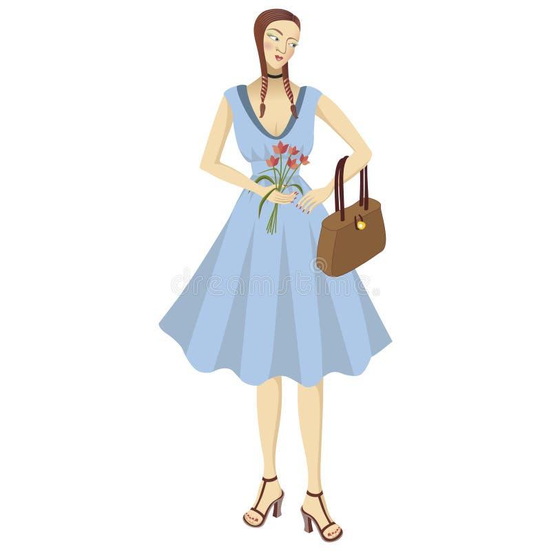 Menina bonita no vestido azul ilustração do vetor