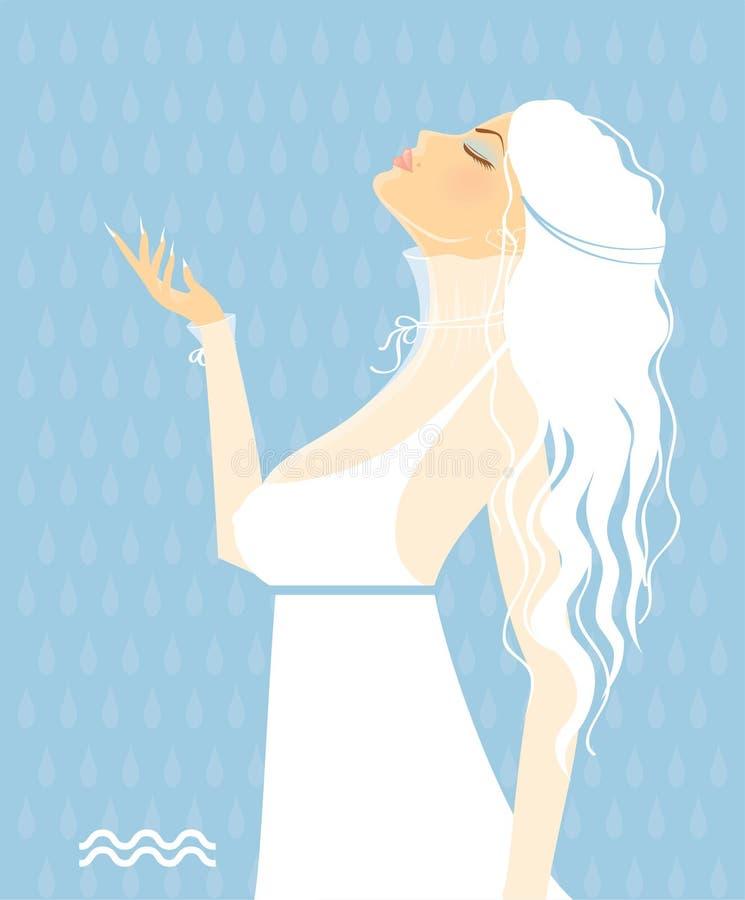 Menina bonita no vestido branco ilustração royalty free