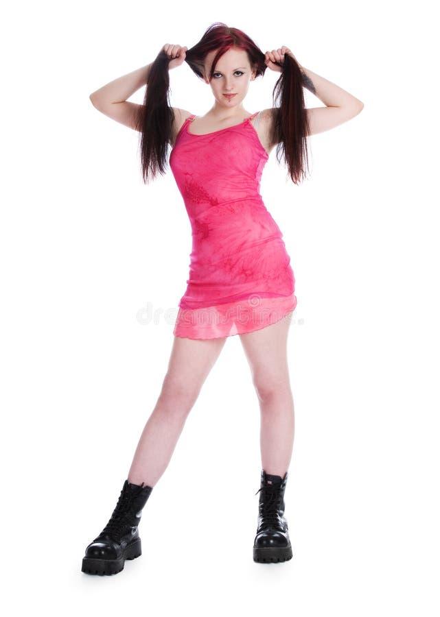 Menina bonita no vestido cor-de-rosa fotografia de stock royalty free
