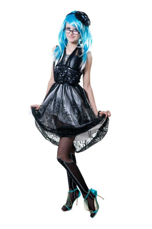 Menina bonita no vestido preto fotografia de stock