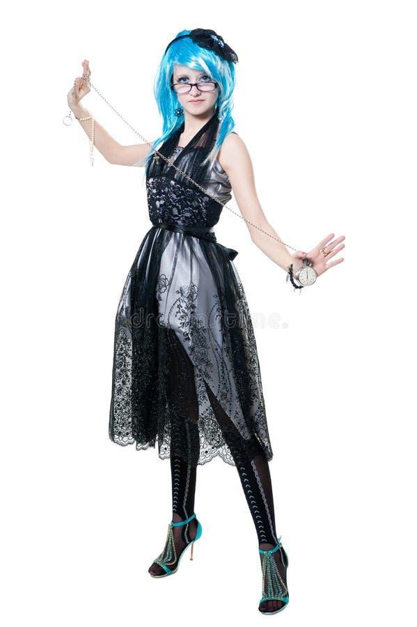 Menina bonita no vestido preto foto de stock