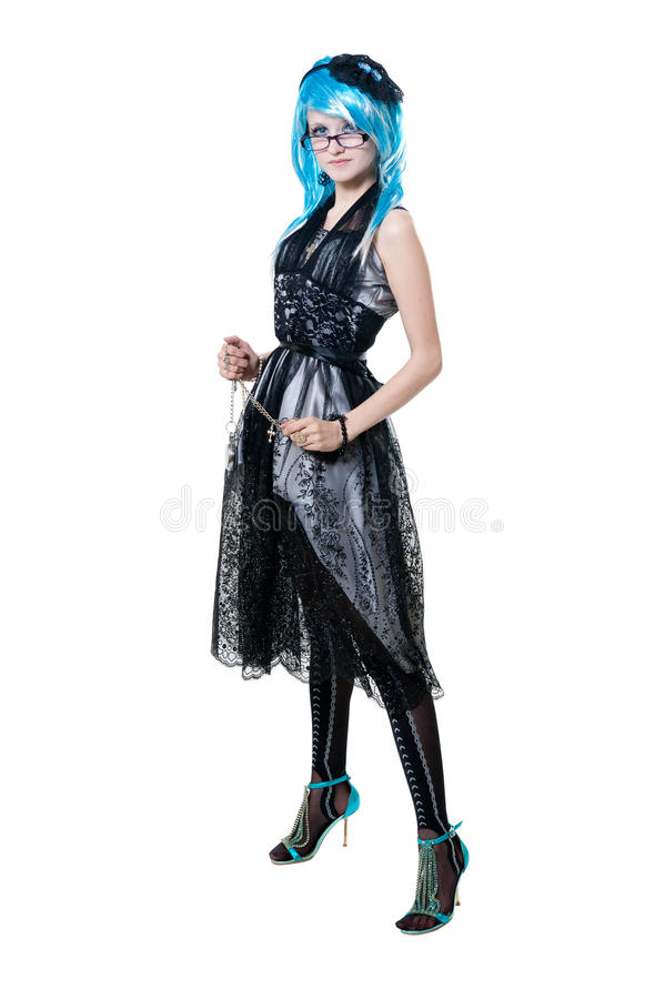 Menina bonita no vestido preto imagem de stock