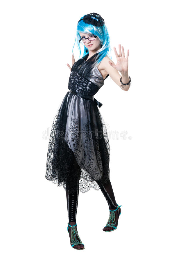 Menina bonita no vestido preto imagens de stock