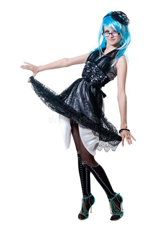 Menina bonita no vestido preto fotos de stock royalty free
