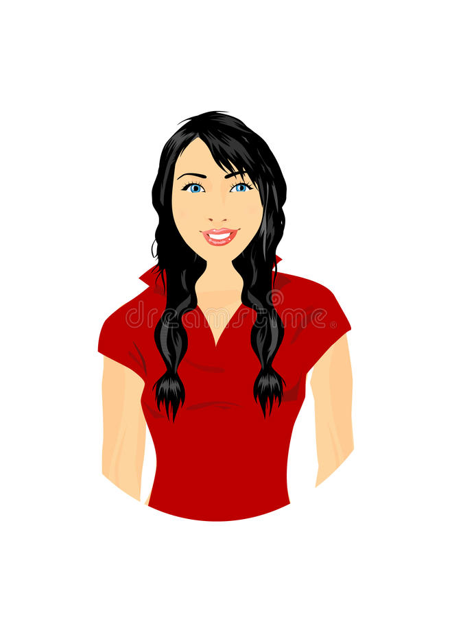 Menina bonita no vestido vermelho ilustração do vetor
