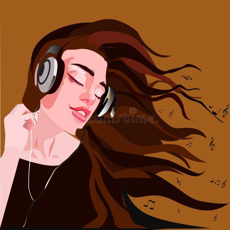 Menina bonita nos fones de ouvido que aprecia a música imagem de stock