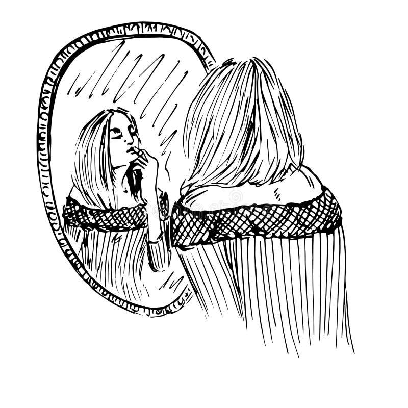 A menina bonita nova aplica o batom na frente do espelho ilustração royalty free