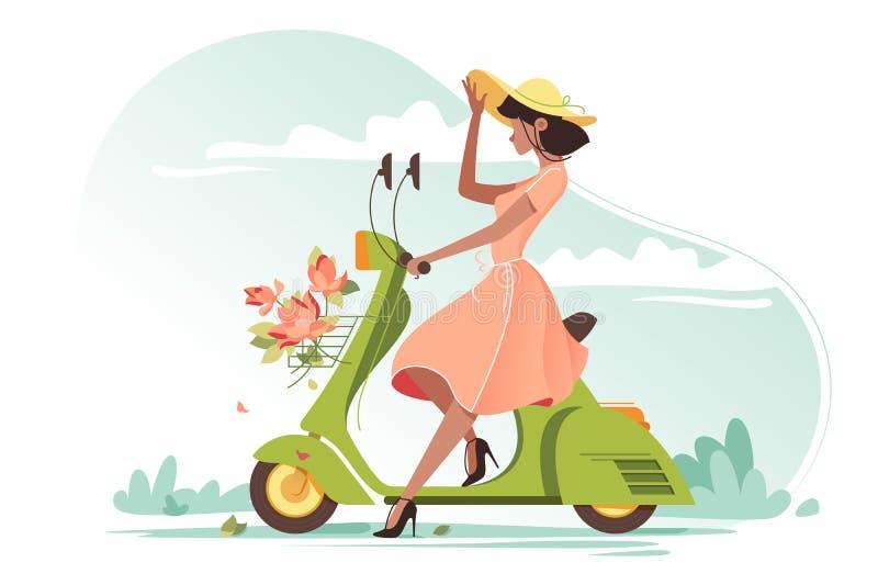 Menina bonita nova com o vestido, as flores e o chap?u leves longos das senhoras no 'trotinette' ilustração royalty free