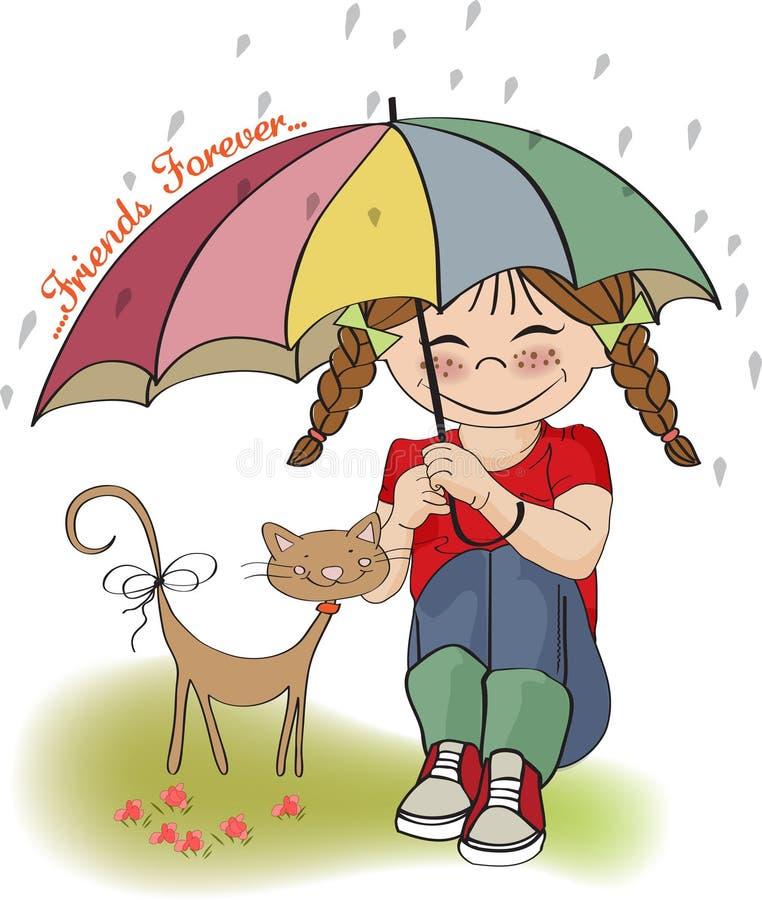 Menina Bonita Nova E Seu Gato, Cartão Da Amizade Fotografia de Stock