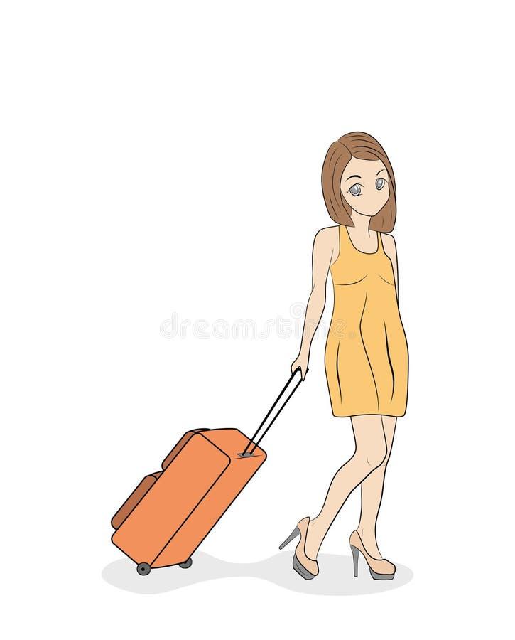 A menina bonita nova em um vestido leve está andando com uma mala de viagem Ilustração do vetor ilustração do vetor