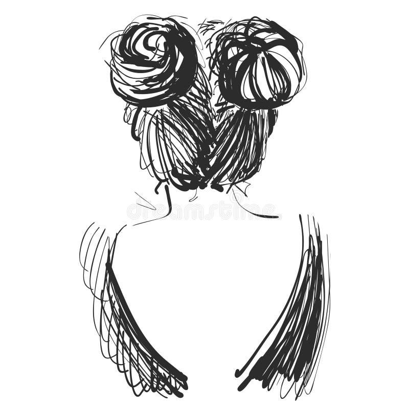Menina bonita nova esboço Ilustração do vetor cabelo grupo ilustração do vetor