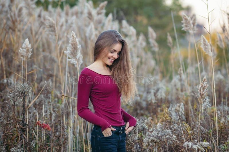 Menina bonita nova loura caucasiano da mulher com cabelo longo imagens de stock