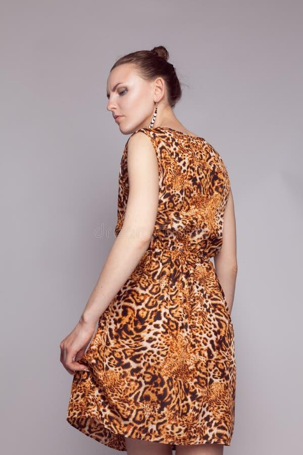 Menina bonita nova no vestido do leopardo imagens de stock royalty free