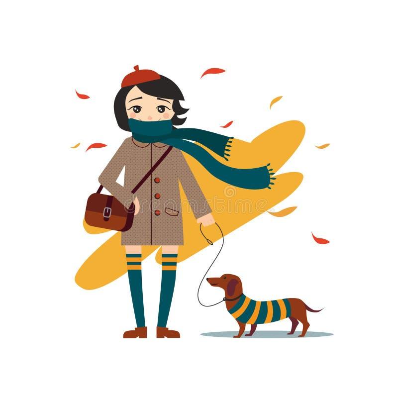 Menina bonita nova que anda com cão ilustração stock