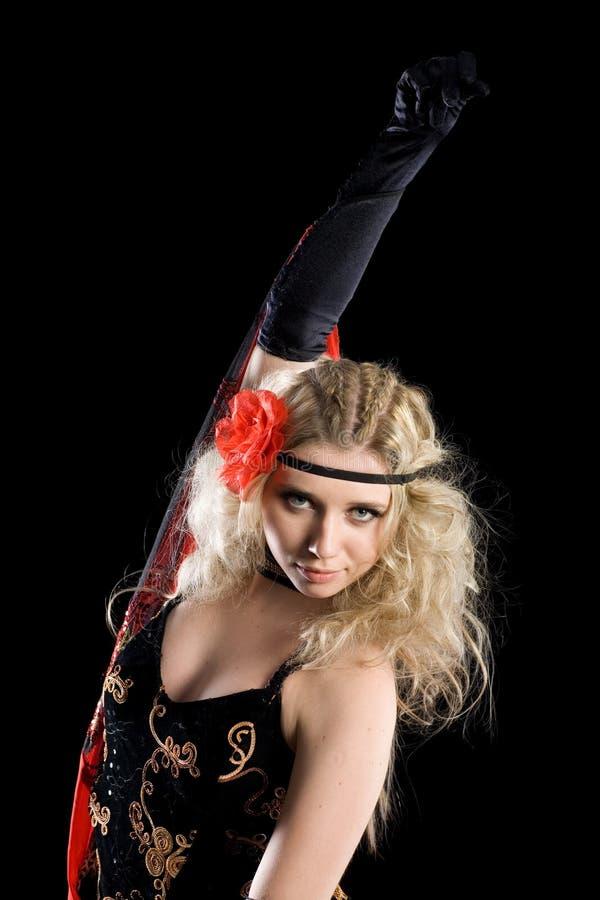 Menina que dança o flamenco espanhol. imagens de stock royalty free