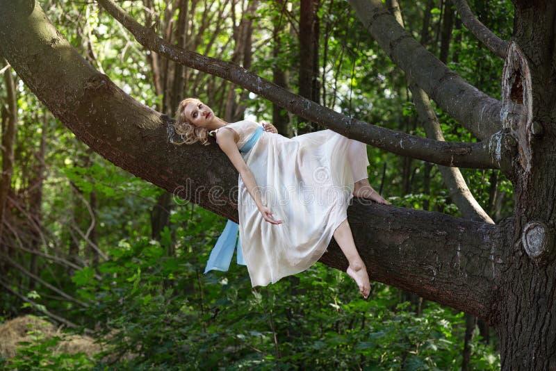 Menina bonita nova que encontra-se em uma árvore grande no parque do verão fotografia de stock royalty free