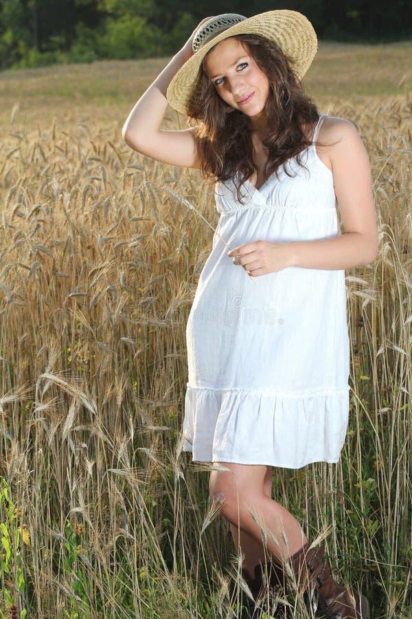 Menina bonita nova que levanta em um campo de trigo fotos de stock